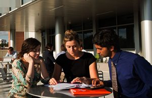 UF Online image of Anthropology students in a group study outdoors