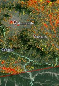 UF Online image of an earthquake impact zone in Nepal