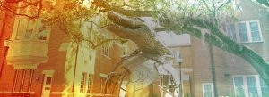 UF Online image of gator statue on top of the world in front of Heavener Hall on the University of Florida Campus