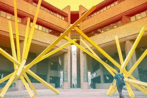UF Online image of the French Fries sculpture outside of Marston Science Library at the University of Florida
