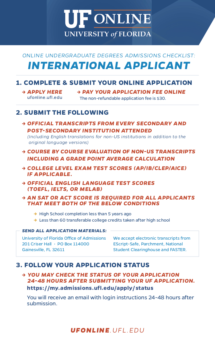 international applicant checklist